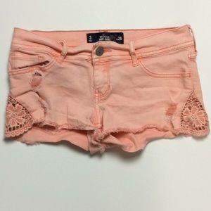 Hollister Short Short Low-Rise Peach Shorts Sz 3